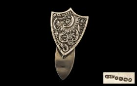 Large Victorian Silver Clip. Victorian belt clip in form of a shield. Highly decorated and of