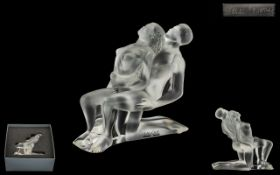 Lalique Superb Quality Moulded and Signed Crystal Statuette titled 'Intertwined Dancers',