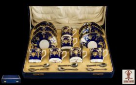 Royal Crown Derby Superb Quality 12 Piece Hand Painted Coffee Set in Cobalt blue and gold, date