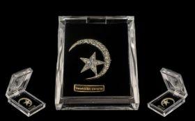 Swarovski Crystal Crescent Shaped Star Brooch in original lucite box