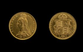 Queen Victoria Shield Back Jubilee Head 22ct Gold Half Sovereign, dated 1892, of high grade, E-F.