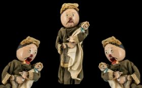 Rare Antique Hand Held Stick Painted Wood Ventriloquist's Peg Doll,