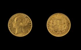 Queen Victoria Young Head Shield Back 22ct Gold Full Sovereign, date 1869, die no.