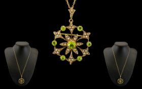 Antique Period Attractive and Superb 9ct Gold Peridot and Seed Pearl Pendant/Brooch with attached