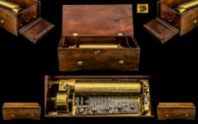 Swiss Made Good Quality Early Mechanical Cylinder Music Box with Rectangular Walnut Case; mid 19thC,