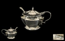 Solid Silver Antique Condiment Pot with Spoon, complete with blue glass liner,