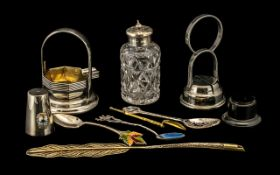 Mixed Lot of Silver Plated Ware comprising Silver spoon with enamelled bowl; plated portable ashtray