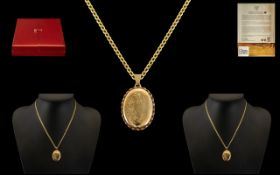 Clogau 9ct Welsh Gold Attractive Pendant Locket with Attached 9ct Gold Chain, both fully