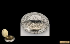 Edwardian Period Excellent Quality Sterling Silver Exquisitely Decorated Circular Hinged Box,