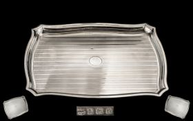 A Superb Quality Sterling Silver Letter or Drinks Tray of small proportions, with Regency stripe