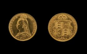 Queen Victoria Shield Back Jubilee Head 22ct Gold Half Sovereign, dated 1891, of high grade.