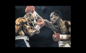 Large Oil on Board Painting of Two Heavyweight Black Boxers in Dramatic Pose.