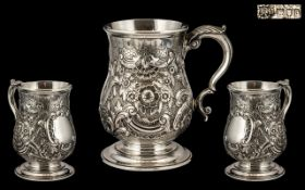 Goldsmiths & Silversmiths Company Superb Quality Sterling Silver Tankard with embossed floral