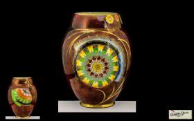 Carlton Ware Superbly Designed Ovoid Ruby Lustre Glaze Vase, c1930s, 'Flower and Fallen Leaf'