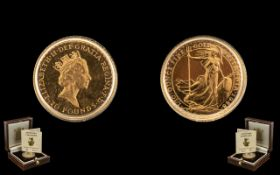 Royal Mint Britannia - Limited Numbered Edition Ten Pound Gold Proof Struck Coin, dated 1988; purity