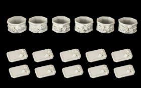 Twelve Porcelain Menu Holders in card box (unused),