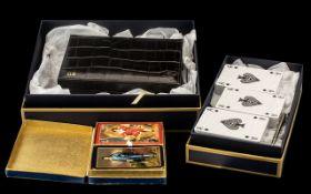 Boxed Bridge Set by Aspinal of London unused, in leather case, in original Aspinal box; Aspinal of