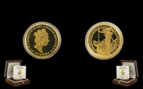 Royal Mint Britannia - Limited Numbered Edition Ten Pound Gold Proof Struck Coin, dated 1990, purity