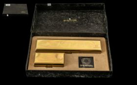 Boxed Set of Sheaffer Imperial Brass Fountain Pen in brass box, with matching brass box with ink