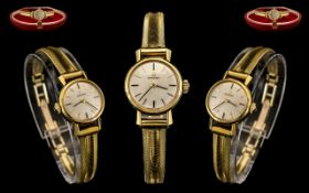 Omega Ladies 18ct Gold Cased Attractive Mechanical Wrist Watch with stylish and later gold plated
