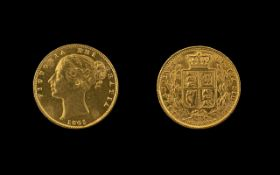 Queen Victoria Young Head Shield Back 22ct Gold Full Sovereign, date 1865, die no.