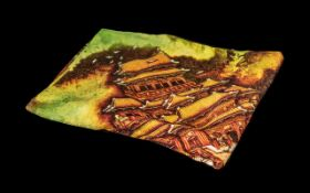Boxed Chinese Silk Scarf made by Kowloon Shangri-La of Hong Kong. 35'' square, colourful amber and