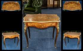 Victorian French Style Inlaid Floral Marquetry Side Table of Serpentine Shape, on shaped, ormolu