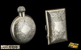 Victorian Period Screw Top Circular Sterling Silver Scent Bottle with excellent chased decoration,