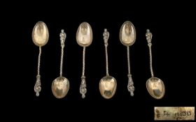 Set of Six Silver Apostle Teaspoons in fitted leather case, spoons hallmarked Birmingham 1907