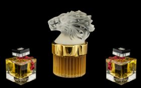 Lalique of Paris Superb Gold Banded Glass Eau de Parfum Bottle, (Full), with moulded crystal