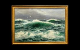 Daniel Sherrin Signed Oil on Canvas showing a turquoise coloured sea with high rolling, foam