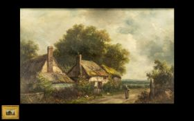 J Thors - Victorian Oil Painting on Canvas depicting a country scene with a figure walking down a