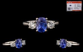 Platinum Set Superb Quality 3 Stone Sapphire and Diamond Set Dress Ring - marked 950 platinum. The