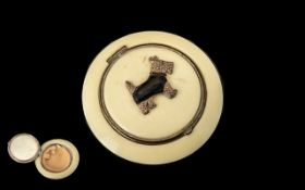 French Art Deco Ladies Powder Puff of Round Shape, the body of ivorine material, applied to the
