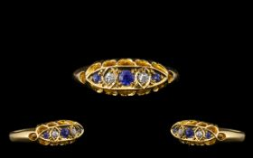 Antique Period Attractive 18ct Gold Five Stone Diamond and Sapphire Set Ring of excellent design and