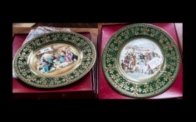 Pair of Boxed Caverswall Porcelain Dickens Plates depicting 'After the Wedding Breakfast', Ltd.