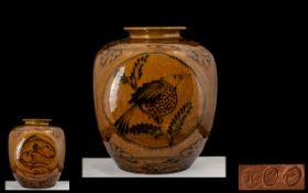 Royal Bonn Hand Painted Impressive Twin Handled Bulbous Vase, 1888-1910, Franz Anton Mehlem