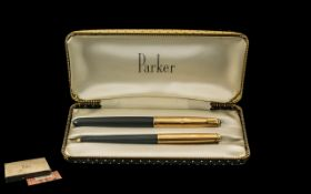 Parker 51 1950's Boxed Set comprising Gold Plated Fountain Pen and Ballpoint Pen. In as new, never