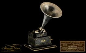 Edison Gem Wind Up Cylinder Phonograph, serial no. 304064, with key and horn, circa1900-1905;