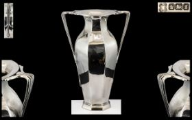 Art Nouveau Period Superb Silver Twin Handled Vase of pleasing design and form,