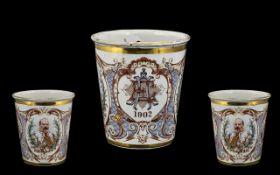 Enamel Coronation Beaker with Printed Decoration Dated 1902.