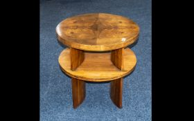 Fine Quality Art Deco Walnut Quartered Veneer Side Table with shaped, contoured back panels fitted