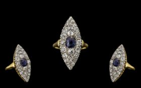 Art Deco Period Stunning 18ct Gold Diamond and Sapphire Set Dress Ring - marked 18ct to interior