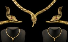 Stunning Top Quality 9ct Gold Egyptian Revival Style Snake Head Collar Necklace, the head of the