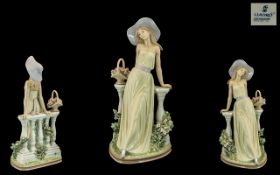 Lladro Hand Painted Tall Porcelain Figure ' Time For Reflection', model no. 5378, designed by Jose