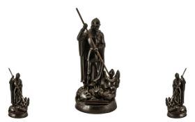 Unusual 'George and the Dragon' Table Cigarette Lighter in a bronzed metal, the striker fitted