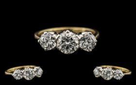 18ct Gold Excellent Quality 3 Stone Diamond Set Ring fully hallmarked for 750 - 18ct.