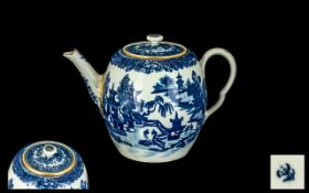 Worcester 18thC Underglaze Blue Bullet Shaped Teapot, decorated to the body with a Chinese garden