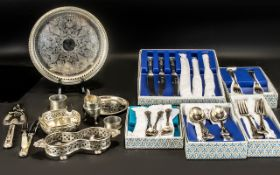 Collection of Miscellaneous Silver Plated Items comprising round gallery tray, pin tray, cake slice,