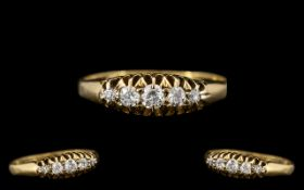 Edwardian Period Attractive 18ct Gold Gypsy Set Five Stone Diamond Ring, the old cut diamonds of